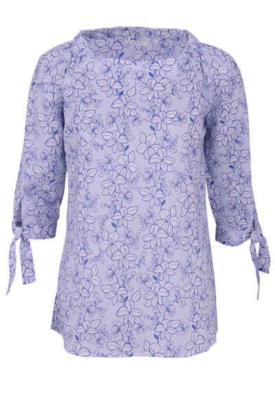 ETERNA Modern Fit Bluse 3/4 Arm mit Bänder Muster blau - Hemden Meister