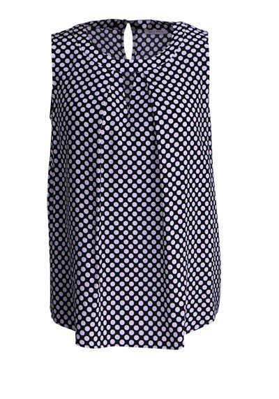 ETERNA Modern Fit Bluse ohne Arm Rundhals Punkte schwarz - Hemden Meister