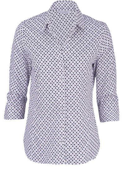 ETERNA Modern Fit Bluse 3/4 Arm Hemdkragen Muster schwarz - Hemden Meister