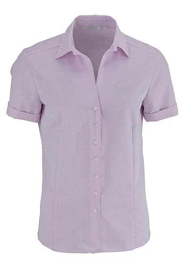 ETERNA Comfort Bluse Halbarm Uni Punkte rosa - Hemden Meister