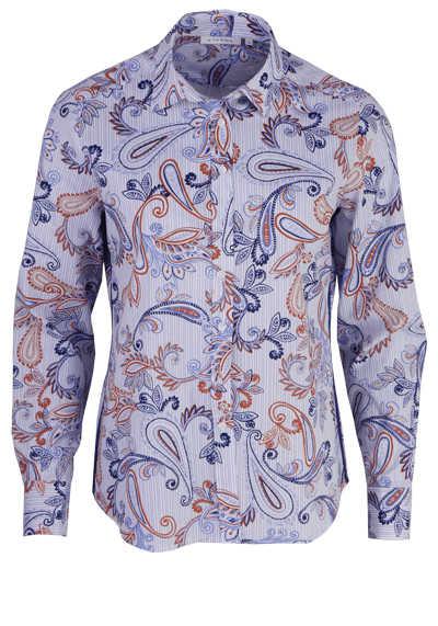 ETERNA Comfort Fit Bluse Langarm Hemdenkragen Muster blau - Hemden Meister