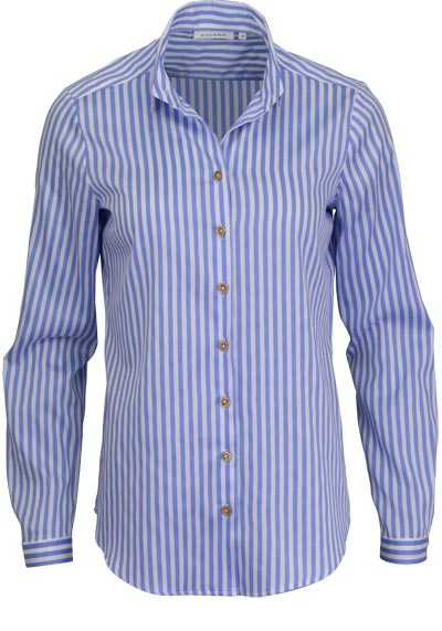 ETERNA Comfort Fit Bluse Langarm Hemdenkragen Streifen blau - Hemden Meister