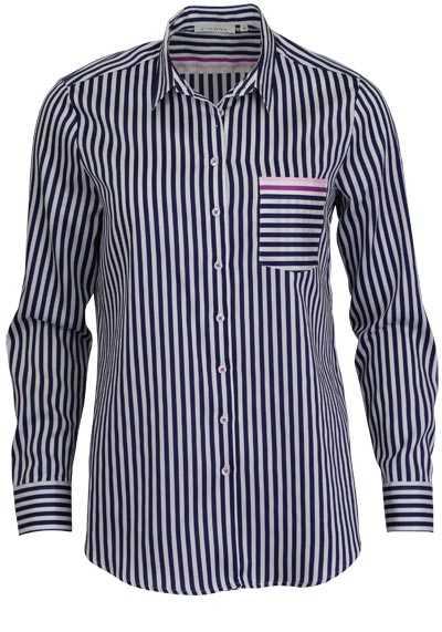ETERNA Comfort Fit Bluse Langarm Hemdkragen Streifen blau - Hemden Meister