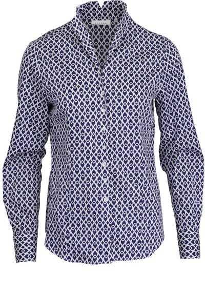 ETERNA Comfort Fit Bluse Langarm Hemdkragen Muster blau - Hemden Meister
