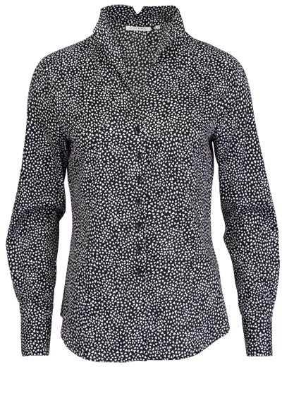 ETERNA Comfort Fit Bluse Langarm Stehkragen Muster schwarz - Hemden Meister