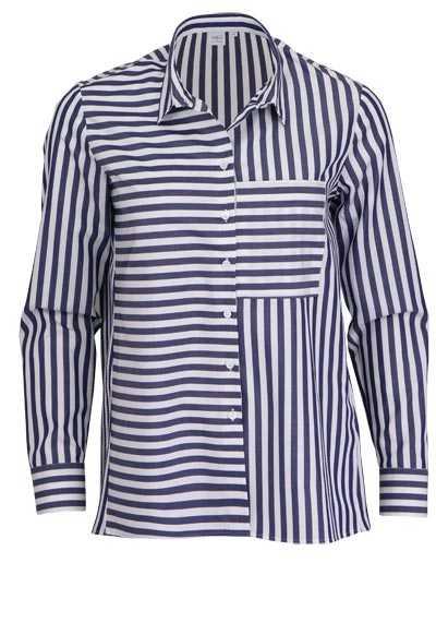 ETERNA Modern Fit Bluse Langarm Hemdkragen Streifen dunkelblau - Hemden Meister