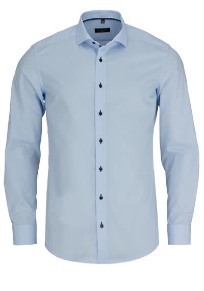 ETERNA Slim Fit Hemd Langarm Kragenband Stretch hellblau - Hemden Meister