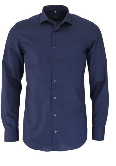 ETERNA Slim Fit Hemd Langarm Kragenband Stretch nachtblau - Hemden Meister