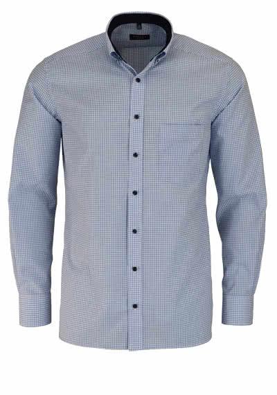 ETERNA Modern Fit Hemd Langarm mit Besatz Karo hellblau - Hemden Meister