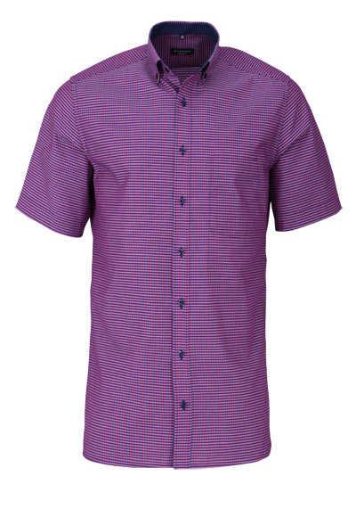 ETERNA Modern Fit Hemd Halbarm Button Down Kragen Karo lila - Hemden Meister