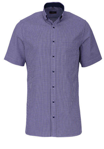ETERNA Modern Fit Hemd Halbarm Button Down Kragen Karo dunkelblau - Hemden Meister