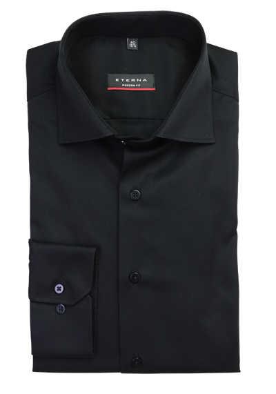 ETERNA Modern Fit Hemd extra langer Arm New Kent Kragen schwarz