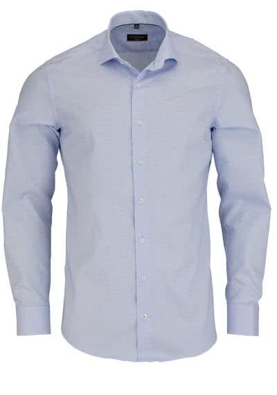 ETERNA Slim Fit Hemd Langarm mit Besatz Muster hellblau - Hemden Meister