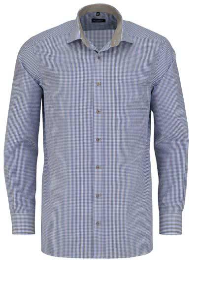 ETERNA Comfort Fit Hemd Langarm New Kent Kragen Popeline Karo blau - Hemden Meister
