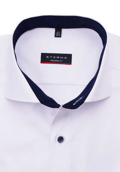ETERNA Modern Fit Hemd extra langer Arm Patch Twill weiß