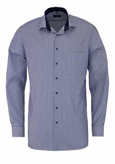 ETERNA Comfort Fit Hemd Langarm New Kent Kragen Streifen nachtblau - Hemden Meister