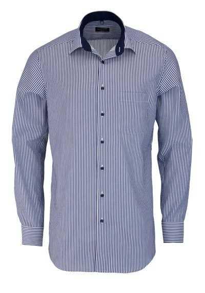 ETERNA Modern Fit Hemd Langarm New Kent Kragen Streifen dunkelblau - Hemden Meister