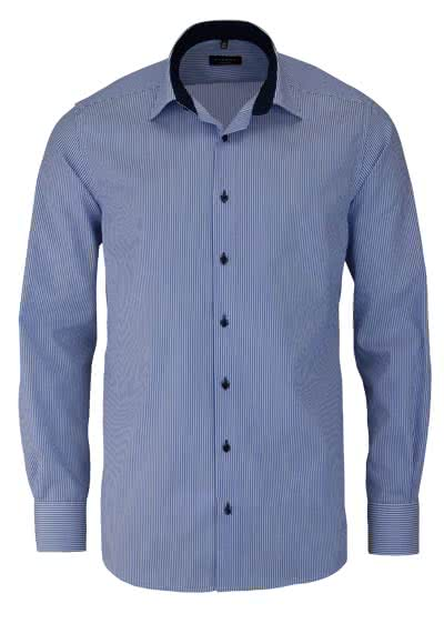 ETERNA Modern Fit Hemd Langarm New Kent Kragen Streifen mittelblau - Hemden Meister