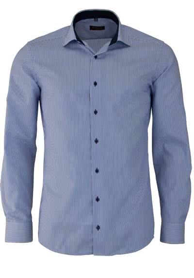 ETERNA Slim Fit Hemd Langarm New Kent Kragen Patch Streifen mittelblau - Hemden Meister