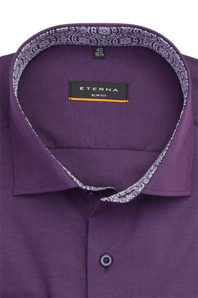 ETERNA Slim Fit Hemd super langer Arm Stretch lila