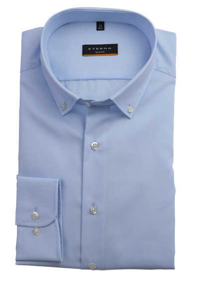 ETERNA Slim Fit Hemd Langarm Button Down Kragen Baumwolle hellblau