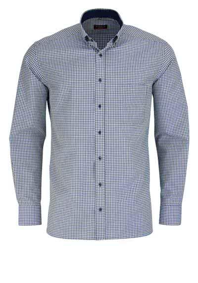 ETERNA Modern Fit Hemd exta kurzer Arm mit Besatz Karo oliv - Hemden Meister