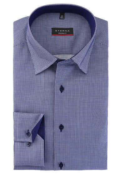 ETERNA Modern Fit Hemd Langarm Under Button Down Kragen Muster blau preisreduziert