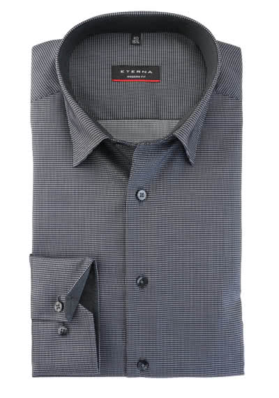 ETERNA Modern Fit Hemd Langarm Under Button Down Kragen Muster schwarz