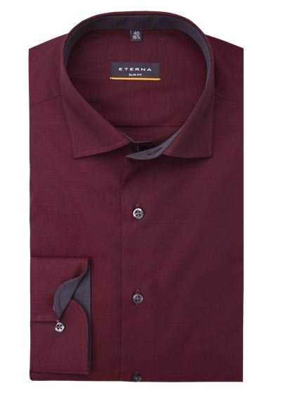ETERNA Slim Fit Hemd Langarm New Kent Kragen Stretch weinrot