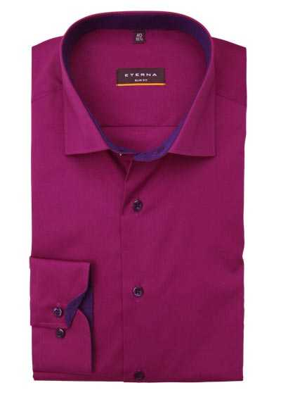 ETERNA Slim Fit Hemd Langarm New Kent Kragen Stretch beere