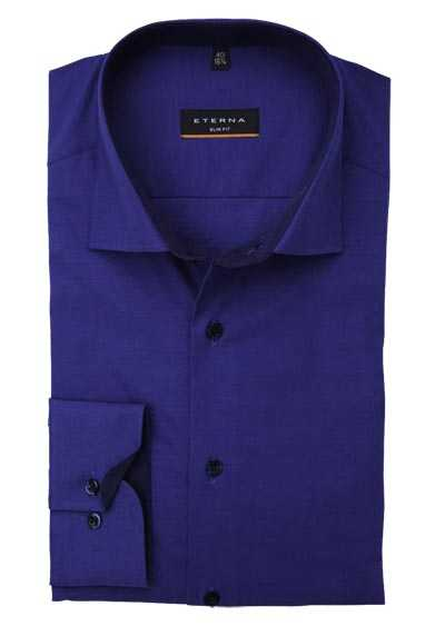 ETERNA Slim Fit Hemd Langarm New Kent Kragen Stretch dunkelblau