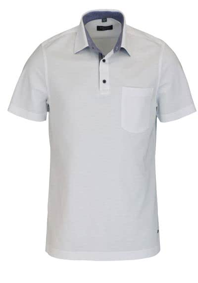 ETERNA Comfort Fit Poloshirt Halbarm mit Brusttasche Piquee weiß - Hemden Meister