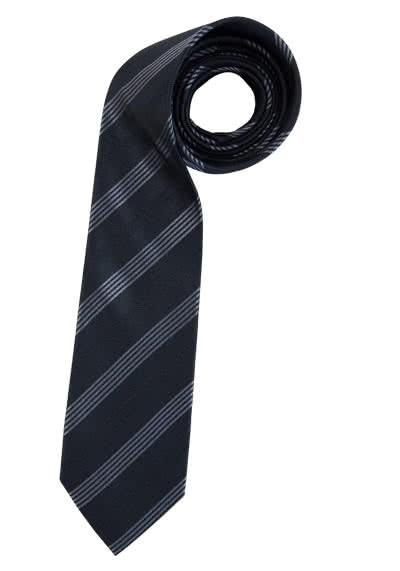 ETERNA Krawatte aus reiner Seide 7,5 cm breit Streifen schwarz - Hemden Meister