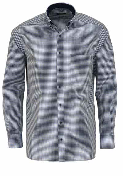 ETERNA Comfort Fit Hemd Langarm Button Down Kragen Karo dunkelgrün - Hemden Meister