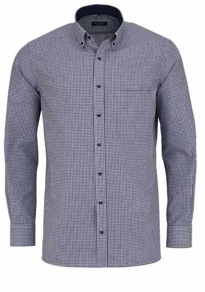 ETERNA Comfort Fit Hemd Langarm Button Down Kragen Karo dunkelblau - Hemden Meister