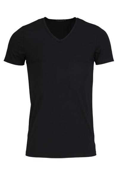 ETERNA Bodywear T-Shirt verlängerter V-Ausschnitt Stretch schwarz - Hemden Meister