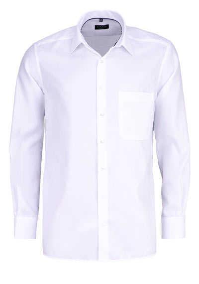 ETERNA Comfort Fit Hemd extra langer Arm Basic Kent Struktur weiß - Hemden Meister