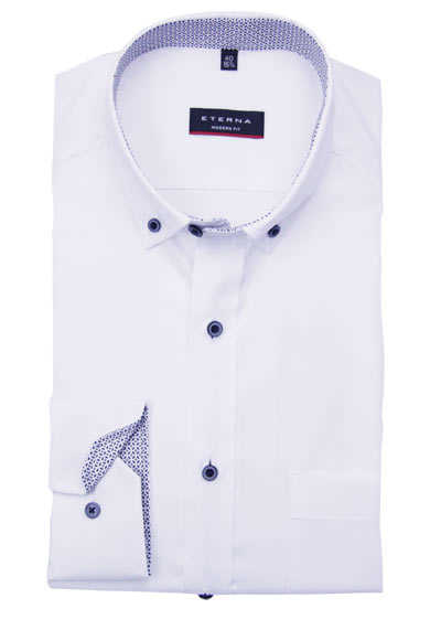 ETERNA Modern Fit Hemd extra langer Arm Button Down Kragen weiß