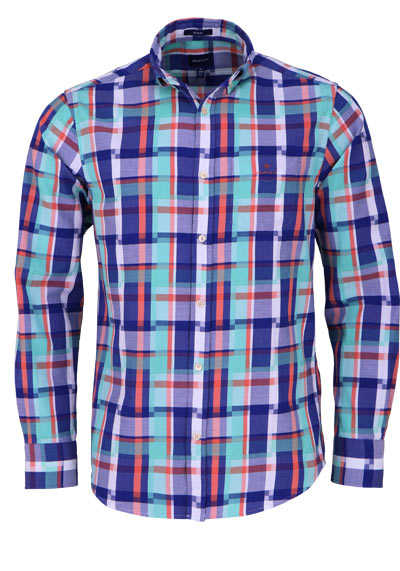 GANT Regular Hemd Langarm Button Down Kragen Karo blau - Hemden Meister