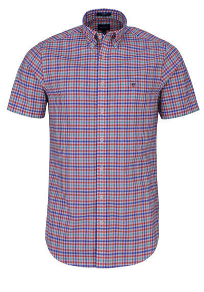 GANT Regular Hemd Halbarm Button Down Kragen Karo blau - Hemden Meister