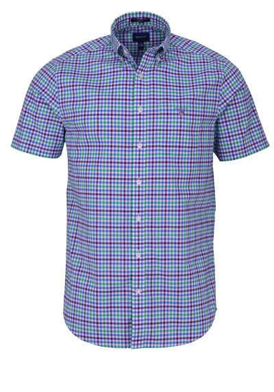 GANT Regular Hemd Halbarm Button Down Kragen Karo dunkelblau - Hemden Meister