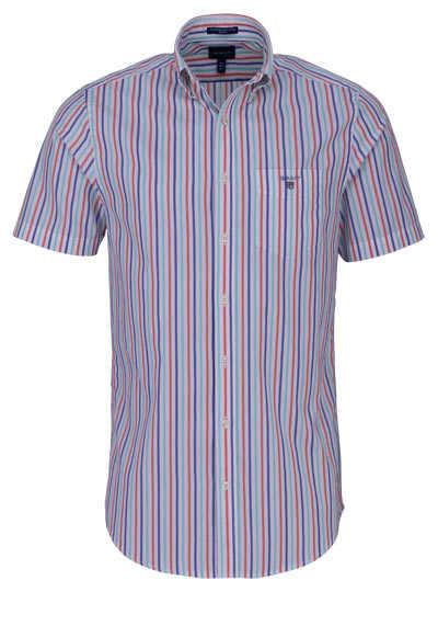 GANT Regular Fit Hemd Halbarm Button Down Kragen Streifen blau - Hemden Meister