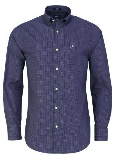 GANT Regular Fit Hemd Langarm geknöpft Punkte blau - Hemden Meister