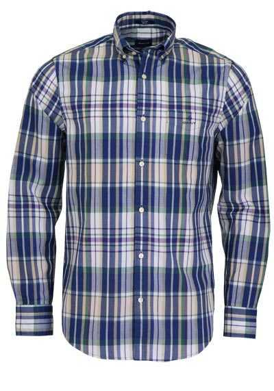 GANT Regular Fit Hemd Langarm Button Down Kragen Karo blau - Hemden Meister