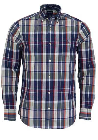 GANT Regular Fit Hemd Langarm Button Down Kragen Karo dunkelblau - Hemden Meister