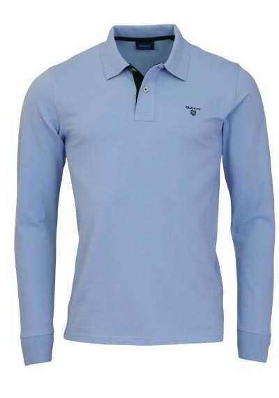 GANT Langarm Poloshirt Polokragen geknöpft Baumwolle hellblau - Hemden Meister