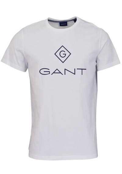 GANT Halbarm T-Shirt Rundhals Baumwolle Schrift-Print ecru - Hemden Meister