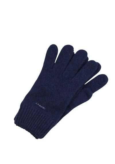 GANT Handschuhe Strick Wolle Applikation dunkelblau - Hemden Meister