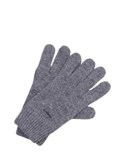 GANT Handschuhe Strick Wolle Applikation mittelgrau - Hemden Meister