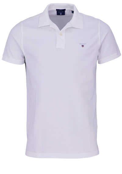 GANT Regular Poloshirt Halbarm geknöpfter Kragen Pique weiß - Hemden Meister